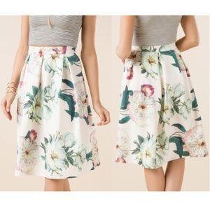⛵️ ALYA Pleated Coraline Floral Midi Skirt Small
